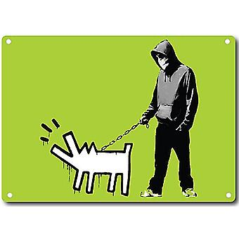 Banksy Hoodie Man And Dog metal sign   200mm x 140mm  (2f)