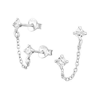 Square With Hanging Chain - 925 Sterling Silver Cubic Zirconia Ear Studs - W38873X