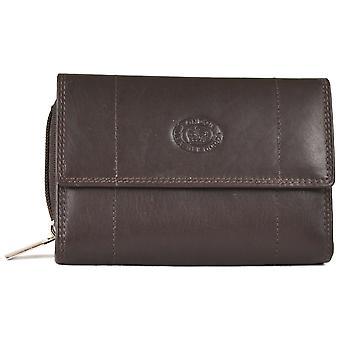 Nappa Leather Zip-Around Purse - Dark Brown
