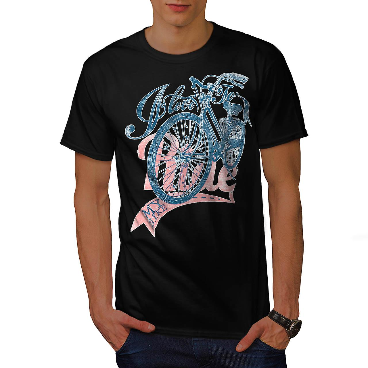 Love To Ride Cycling Bike Pedal Men Black T-shirt | Wellcoda