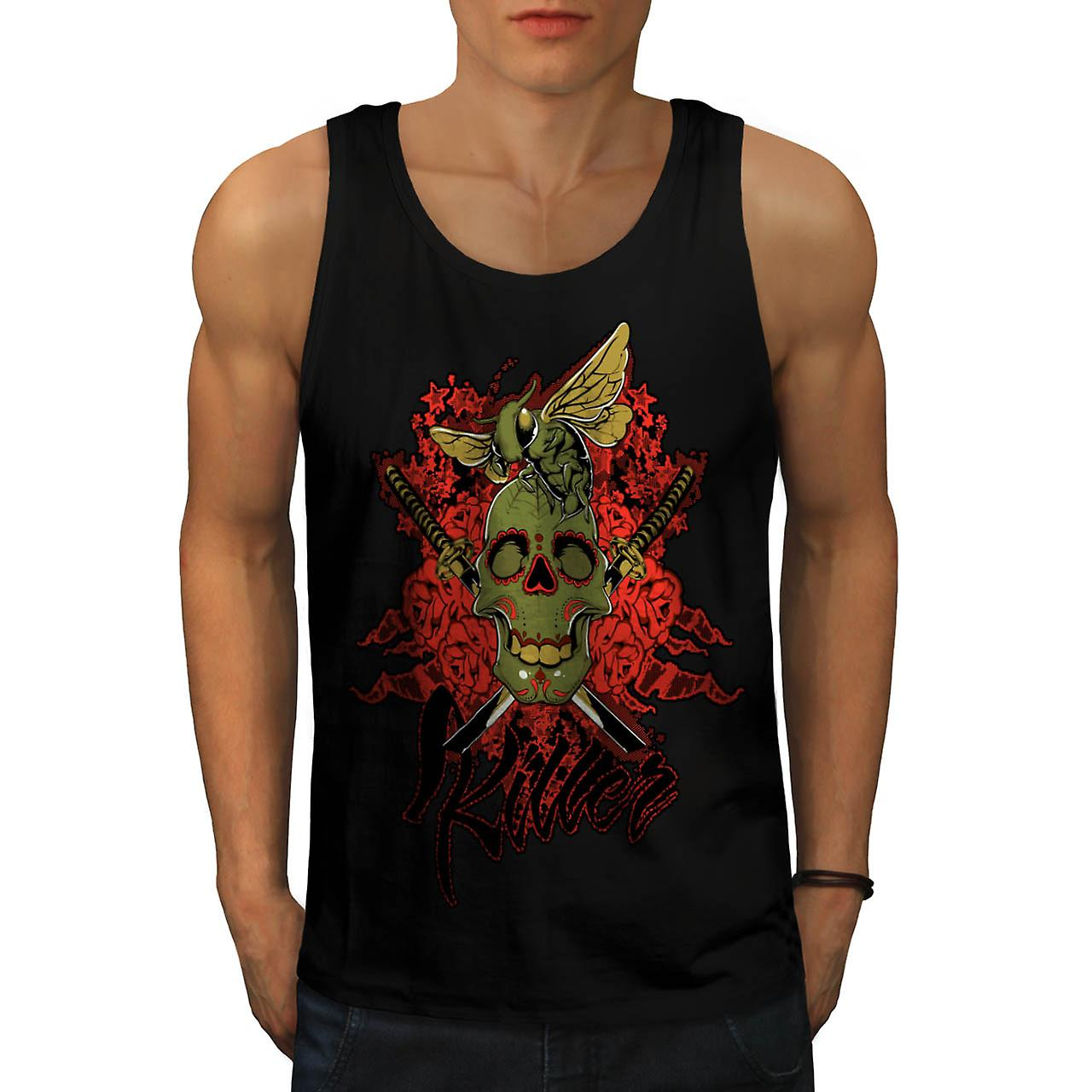 Killer Skull Wasp Bee Insect Fly Men Black Tank Top | Wellcoda