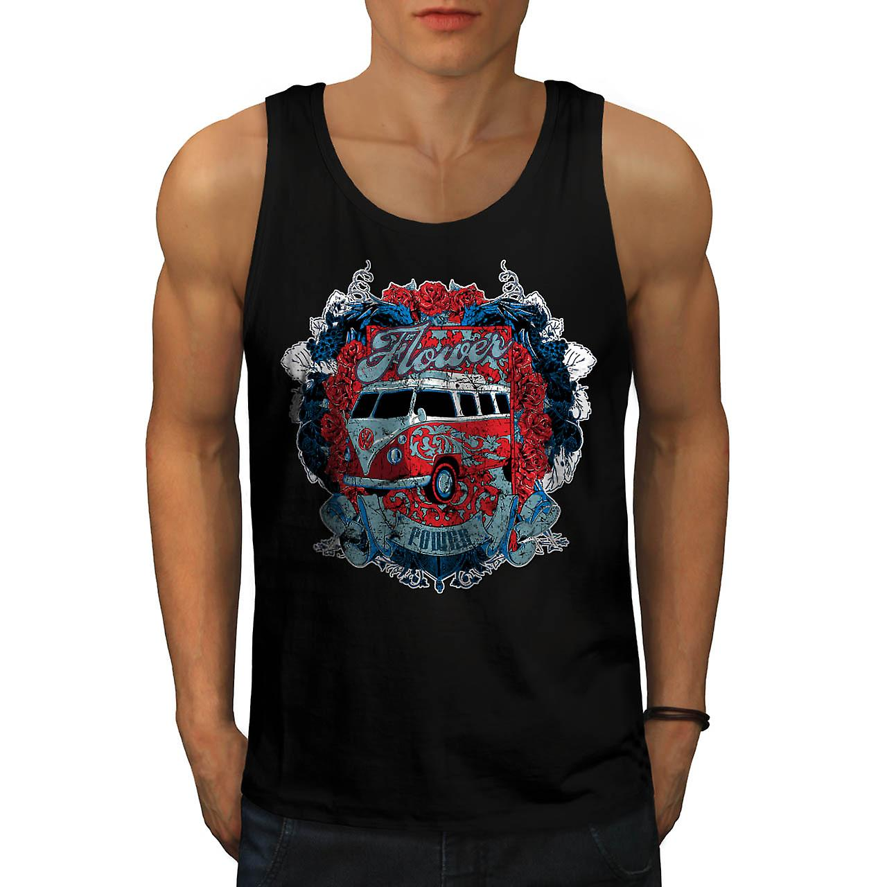 Flower Power Hippy Camper Van uomini Tank Top nero | Wellcoda