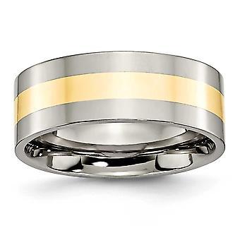 チタン フラット バンド彫刻用 14 k 金象嵌 8 mm 研磨バンド リング - 指輪のサイズ: 6 に 14