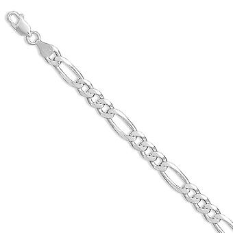 Sterling Silver 8 Inch Figaro Chain Bracelet 7mm Wide With Lobster Clasp