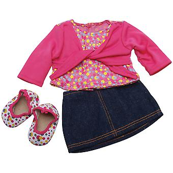 Springfield Collection Denim Skirt Outfit-Pink Shirt & Polka Dot Shoes 3097FS