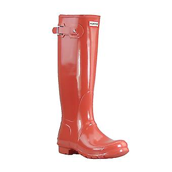 HUNTER Womens original tall gloss boots ladies rubber boots red WFT1000RGL