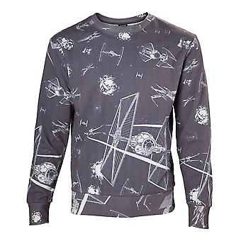 Star Wars Adult Male Imperial Fleet TIE Fighters All-Over Print Sublimation Sweater Small Dark Grey (SW501022STW-S)