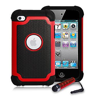 Funda a prueba de golpes + stylus para Apple iPod Touch 4 - rojo