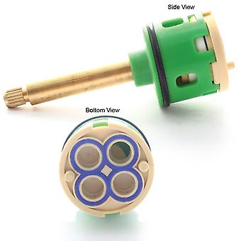 92mm 4-Way Shower Flow Diverter Valve Cartridge - (54mm Brass Spindle) Tap Central Core - O Ring Push Fit