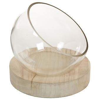 Wellindal Centro Mesa cristal con madera (Home , Decoration , Centerpiece)