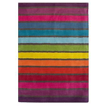 Wool Rainbow Stripes Modern Rug - Candy