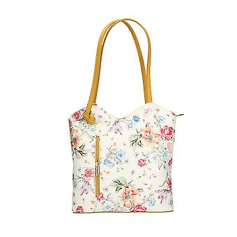 CTM Womens shoulder bag floral design genuine leather Made in Italy – 27x30x9 Cm