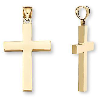 18K Gold Men's Polished Cross Pendant
