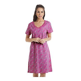 Camille Multi-Coloured Star Print Fuchsia Pink Nightdress