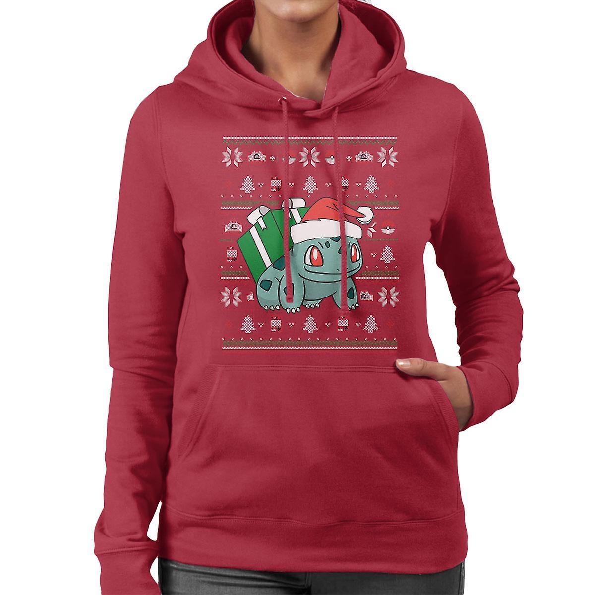 Christmas Bulbasaur Knit Pattern Pokemon Women's Hooded Sweatshirt