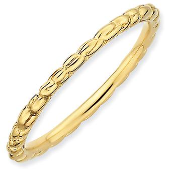 Stapelbare expressies sterling zilver verguld Twisted Ring - Ringmaat: 5 tot 10