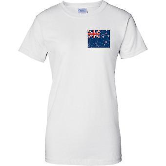 Nuova Zelanda Distressed Grunge effetto bandiera Design - Ladies petto Design t-shirt