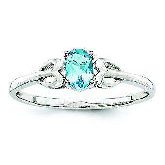 Sterling Silver polerat öppna tillbaka ljus Swiss blå topas Ring - Ring storlek: 5 till 10