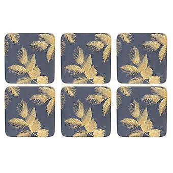 Sara Miller Etched Leaves Navy Coasters, Set of 6