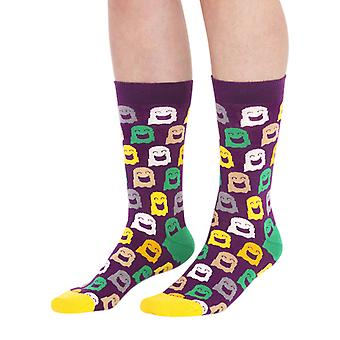 Ghost luxury combed cotton designer crew socks in maroon | By Ballonet
