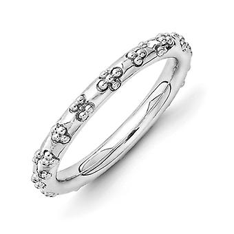 2.5mm Sterling Silver Rhodium-plated Stackable Expressions Rhodium Textured Ring - Ring Size: 5 to 10