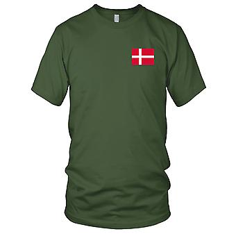 Denmark Danish Country National Flag - Embroidered Logo - 100% Cotton T-Shirt Mens T Shirt