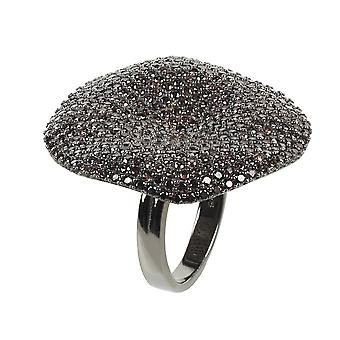 Alessandra Cocktail Ring Oxidised Chocolate CZ