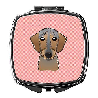 Schachbrett rosa Drahthaar Dackel Taschenspiegel