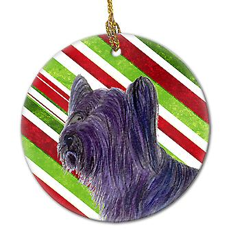 Skye Terrier Candy Cane Holiday Christmas keramiske Ornament SS4532