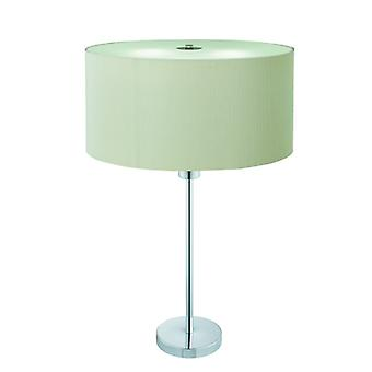 Drum Pleat Chrome Table Lamp With Glass Diffuser And Cream Shade - Searchlight 4562-2cr