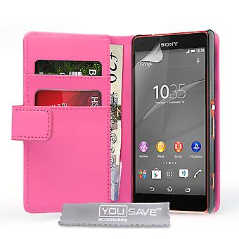 Sony Xperia Z4 Compact Leather-Effect Wallet Case - Hot Pink