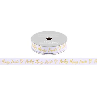 CGB Giftware Willow And Rose Pretty Things Inside White Glitter Gift Ribbon (5m)