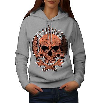 Living Life Biker Skull Women GreyHoodie | Wellcoda