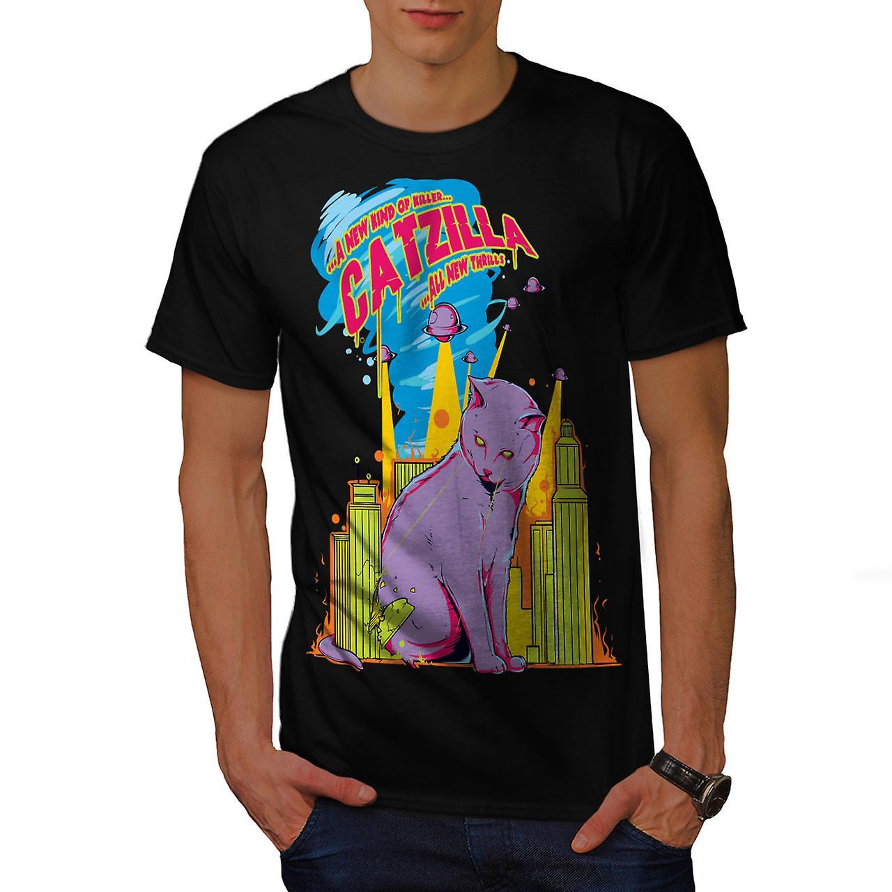 Cat Godzilla Parody Men Black T-shirt | Wellcoda