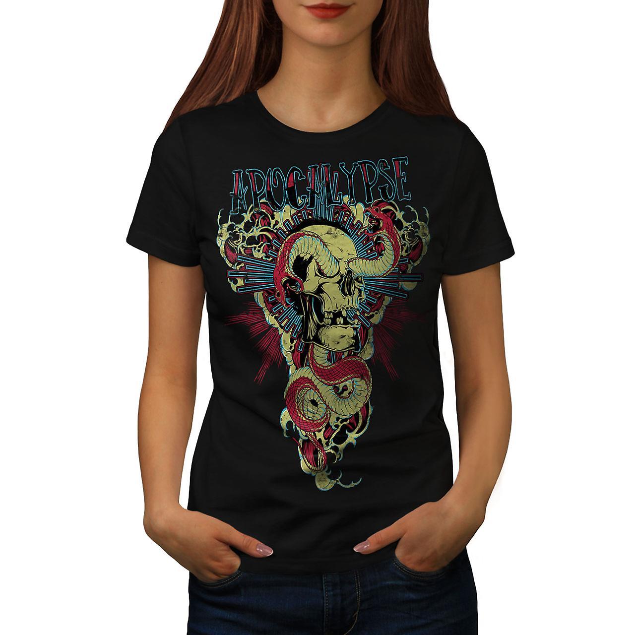 Apocalypse Beast Skull Women Black T-shirt | Wellcoda