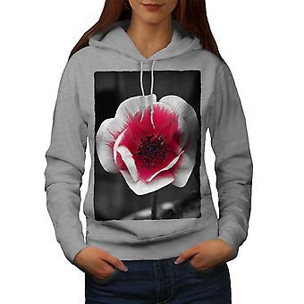 Flor roja foto naturaleza mujeres GreyHoodie | Wellcoda