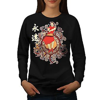 Japan Folklore Fashion vrouwen BlackSweatshirt | Wellcoda