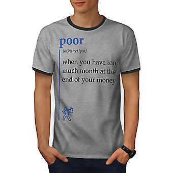 Poor Month Men Heather Grey / Heather Dark GreyRinger T-shirt | Wellcoda