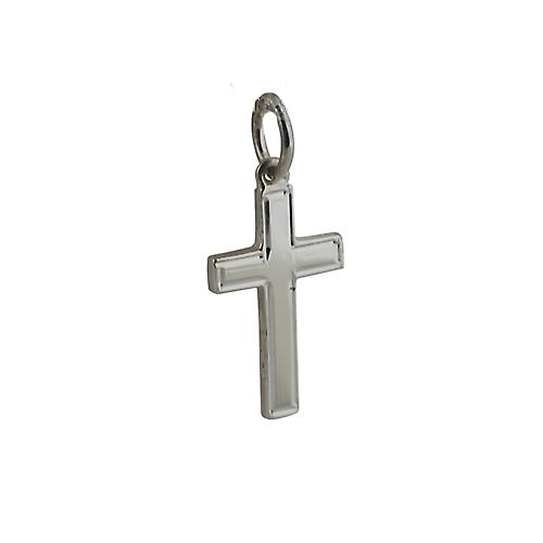Silver 17x10mm line border solid block Cross