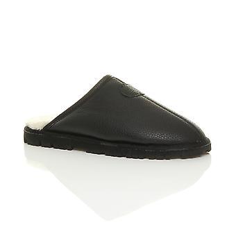 Ajvani mens flat low heel winter fur lined memory foam luxury gift mules slippers