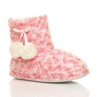 Ajvani womens winter pom pom bont gevoerde comfort gebreide enkel slipper laarzen laarsjes