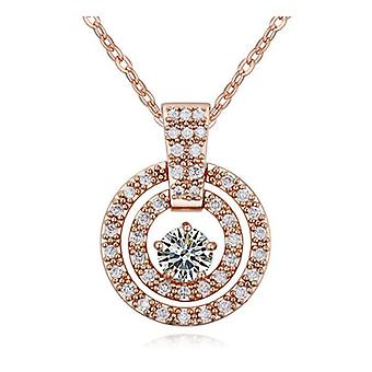 Womens Round Sun Circular Pendant Necklace Crystal Elements Rose Gold