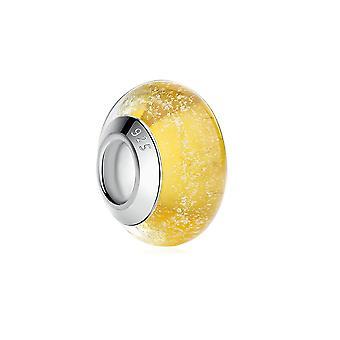 Мурано желтого стекла бисера прелести и серебро 925