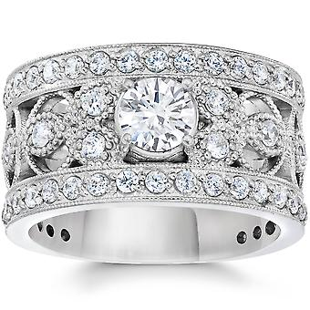 1 5/8 Carat Vintage Diamond Engagement Ring 10K White Gold