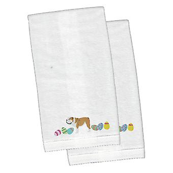 English Bulldog Easter White Embroidered Plush Hand Towel Set of 2