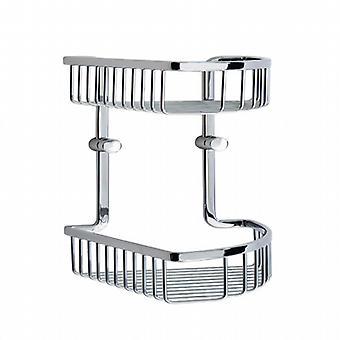 Loft Double Corner Basket - Polished Chrome LK377