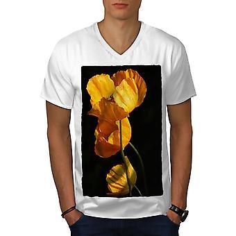 Yellow Blossom Nature Men WhiteV-Neck T-shirt   Wellcoda