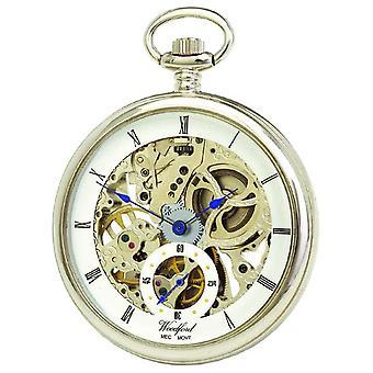 Woodford Chrome White Skeleton Dial Mechanical Pocket 1043 Watch