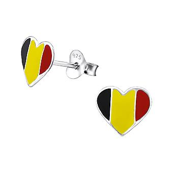 Belgium Heart - 925 Sterling Silver Colourful Ear Studs