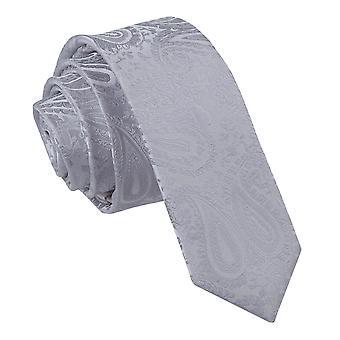 Schmaler Krawatte Silber Paisley